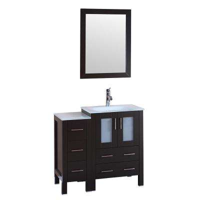 36 in. W Single Bath Vanity with Tempered Glass Vanity Top in White with White Basin and Mirror