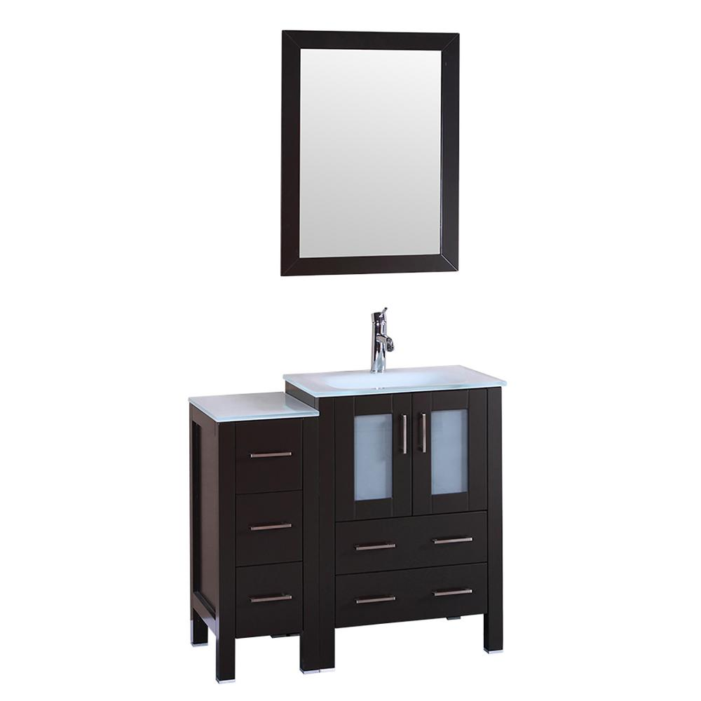 36 in. W Single Bath Vanity with Tempered Glass Vanity Top