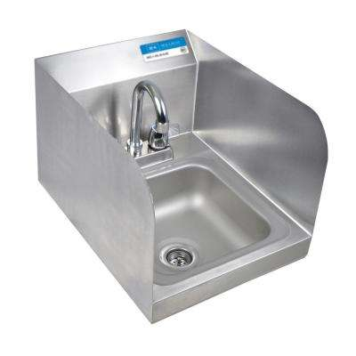 Space Saver Wall Mount Hand Sink Deep Bowl with Side Splashes Drain and 4 in. OC DM Faucet in Stainless Steel