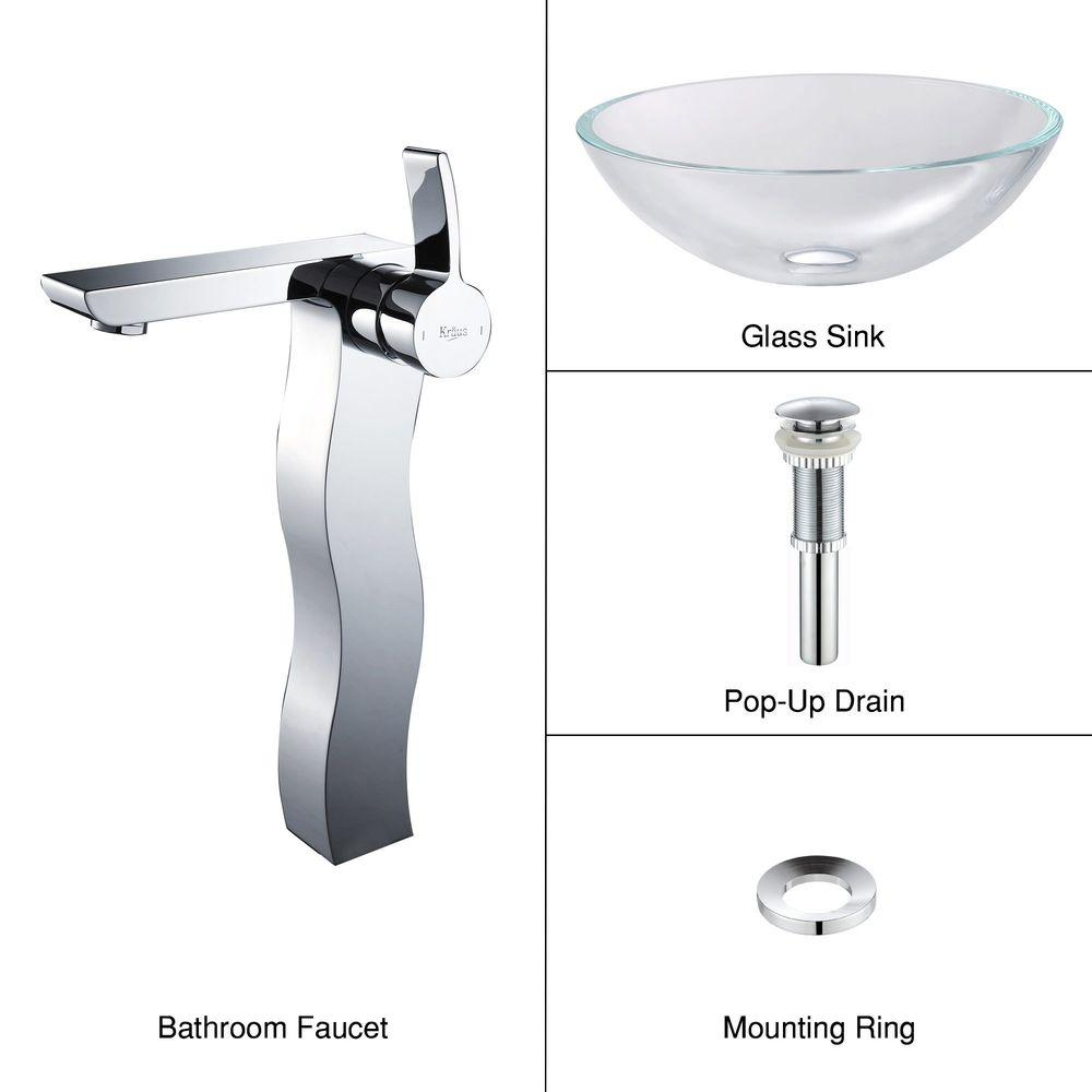 KRAUS Glass Vessel Sink in Crystal Clear with Sonus Faucet in Chrome