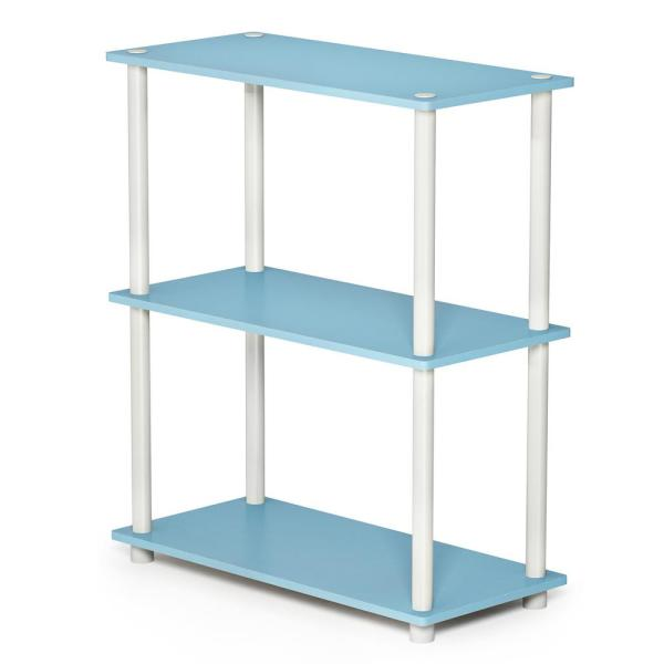 Furinno Turn-N-Tube Compact Light Blue/White Open Bookcase 10024LBL/WH