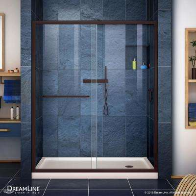 Infinity-Z 30 in. x 60 in. Semi-Frameless Sliding Shower Door in Oil Rubbed Bronze with Right Drain Base in Biscuit