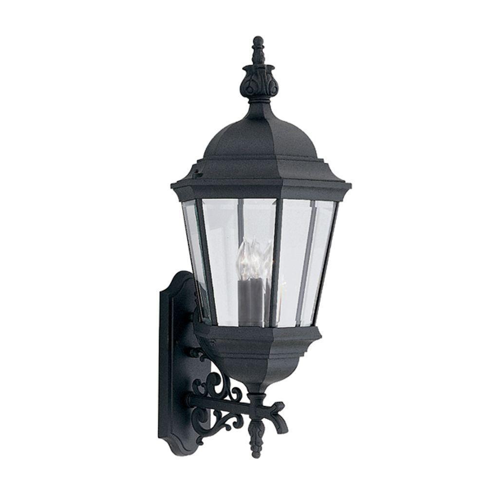 Builder Cast Aluminum 3-Light Black Outdoor Wall-Mount Lantern Sconce
