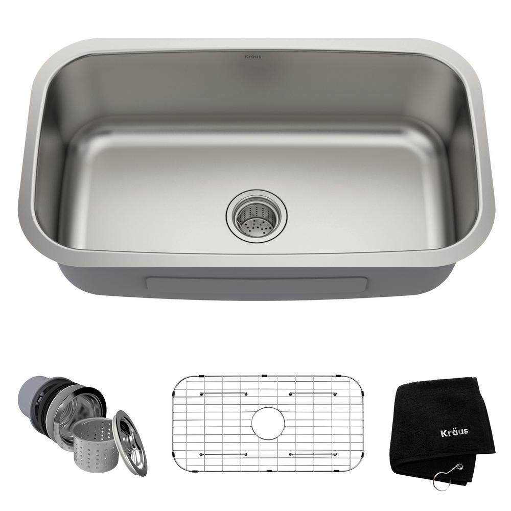 Premier undermount stainless steel 31 in single bowl kitchen sink