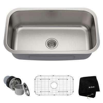 Premier Undermount Stainless Steel 31 in. Single Bowl Kitchen Sink