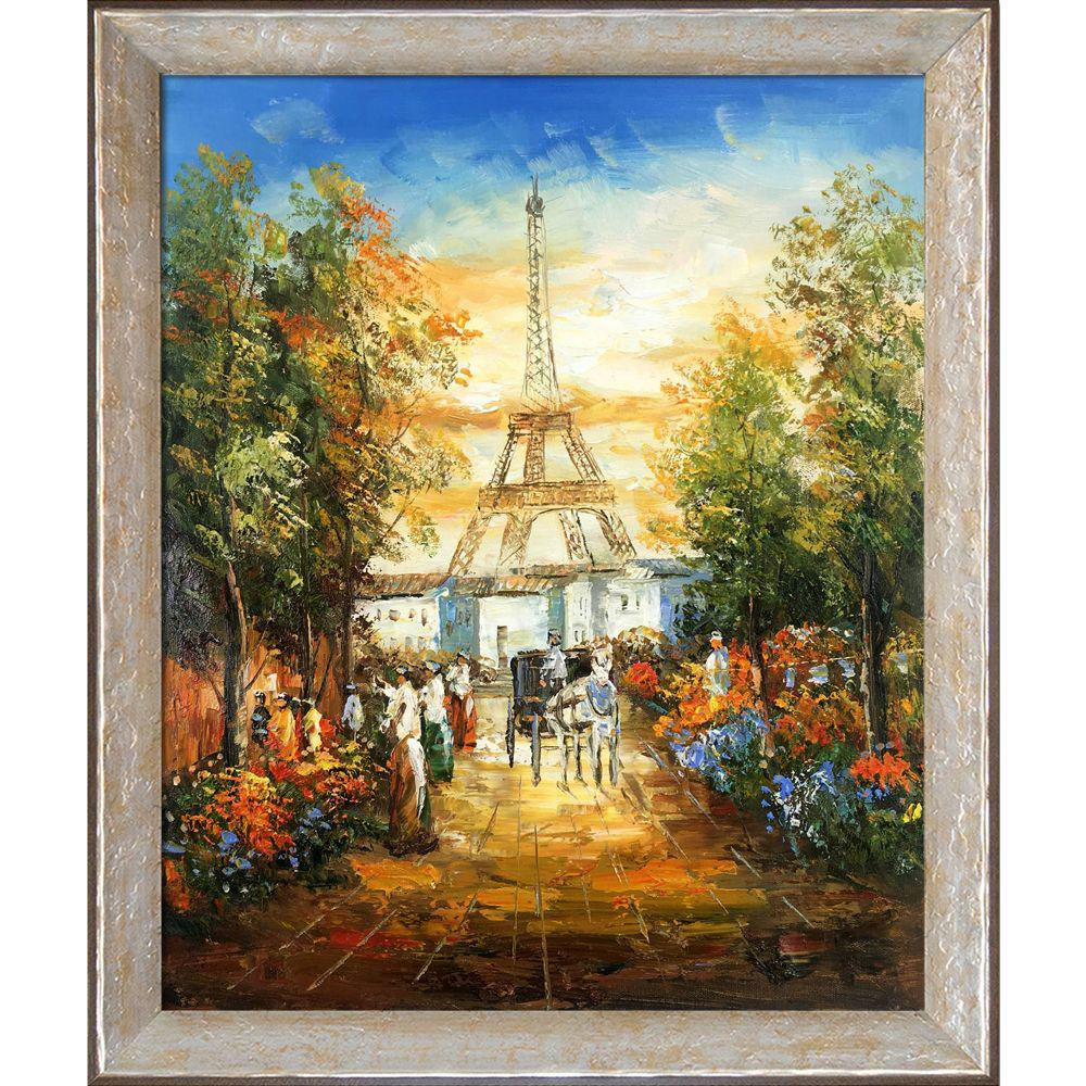 LA PASTICHE Gardens Near The Eiffel with Silver Luna Frameby Unknown Artists Oil Painting, Multi-Colored was $798.0 now $427.4 (46.0% off)