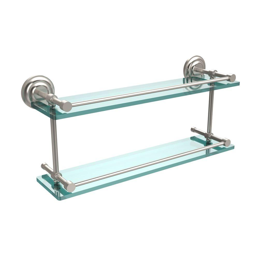 Allied Brass Que New 22 in. L x 8 in. H x 5 in. W 2-Tier Clear Glass Bathroom Shelf with Gallery Rail in Satin Nickel