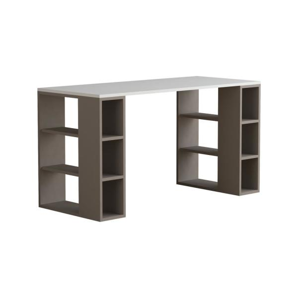 Ada Home Decor Dixon White and Light Mocha Modern Desk DCRD2023