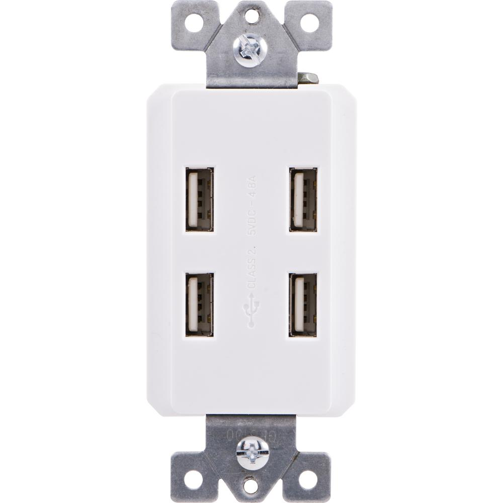 Ge In Wall 4 Port Usb Charger