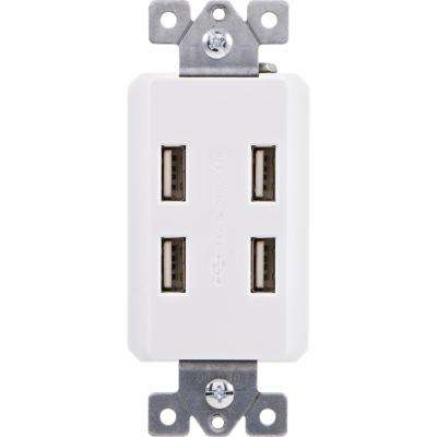 In-Wall 4-Port USB Charger In-Wall Duplex Outlet Receptacle, White