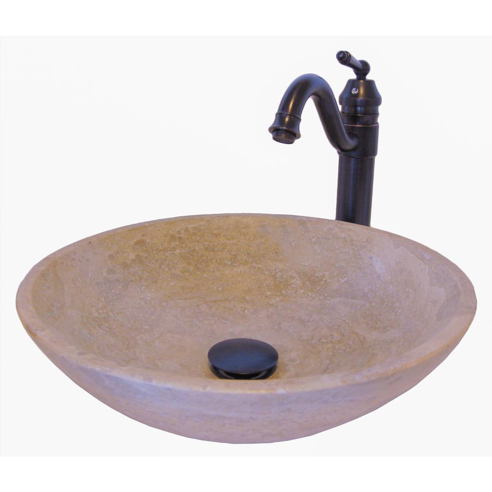 Stone Vessel Sink In Beige With Sealer Drain And Faucet In Oil
