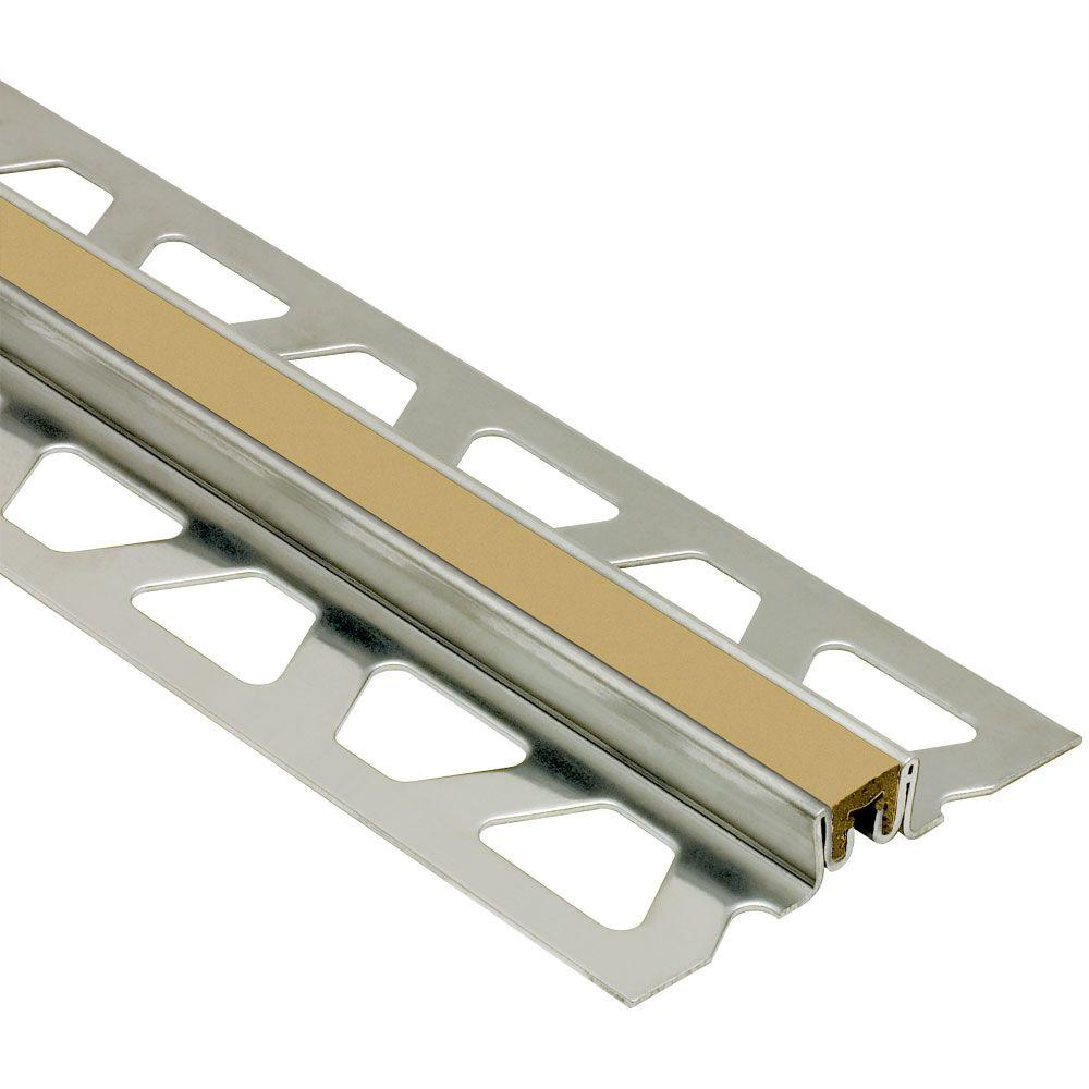 Schluter Dilex-KSN Stainless Steel with Light Beige Insert 3/8 in. x 8 ft. 2-1/2 in. Metal Movement Joint Tile Edging Trim