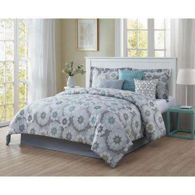 Splendid 7-Piece Blue/Grey/White/Black/Gold King Reversible Comforter Set
