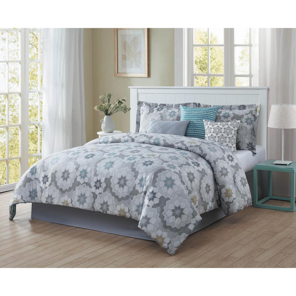 Splendid 7-Piece Blue/Grey/White/Black/Gold King Reversible Comforter Set by
