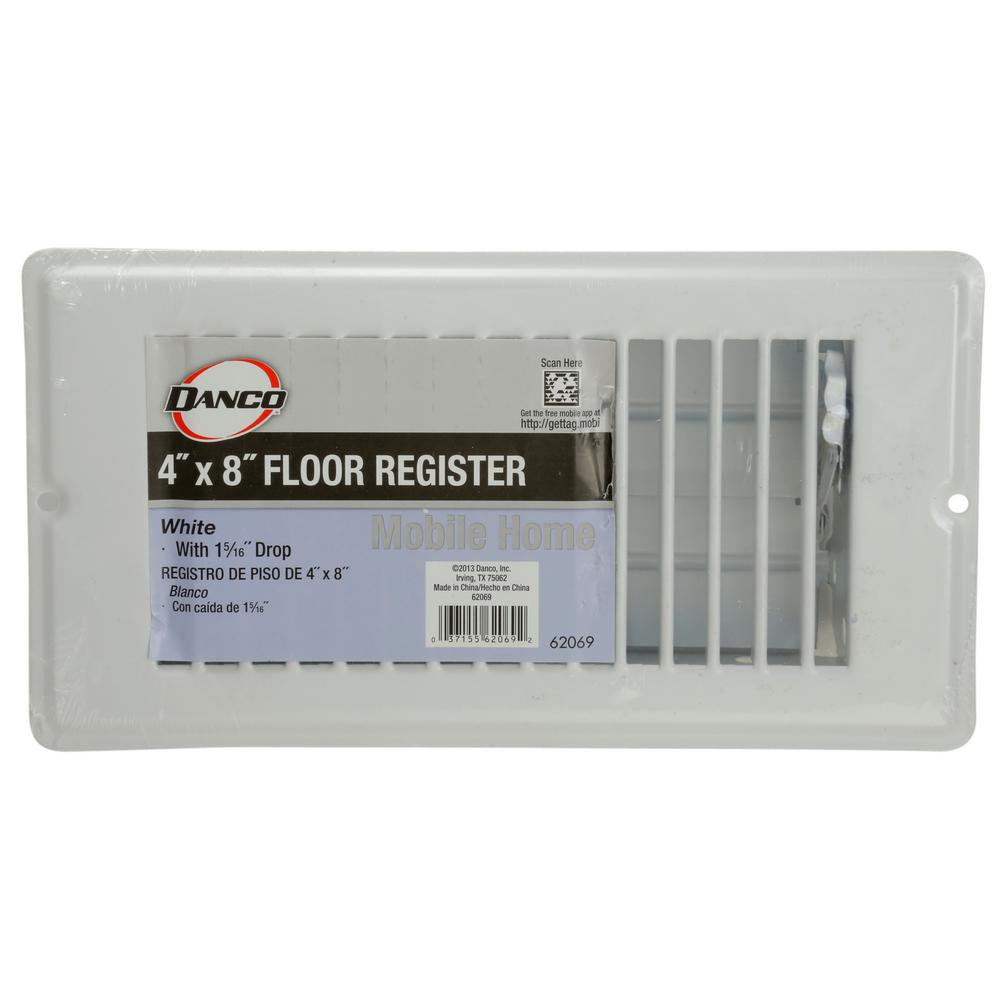 X 8 In White Floor Register 62069