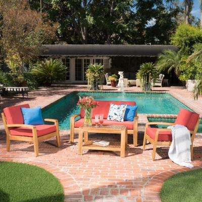 4-Piece Wood Patio Conversation Set with Red Cushions