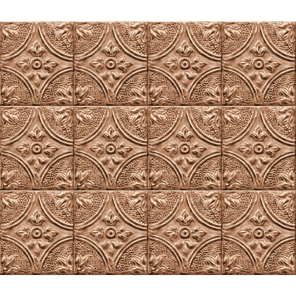 Copper Tin Tile Peel and Stick Backsplash Wall Decal