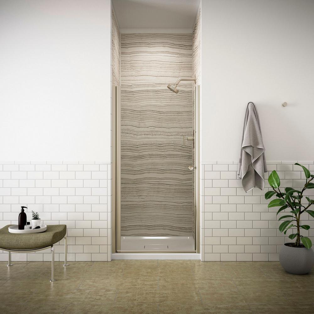 KOHLER Fluence 34 in. x 65-1/2 in. Frameless Pivot Shower Door in Anodized Brushed Bronze Finish with Handle