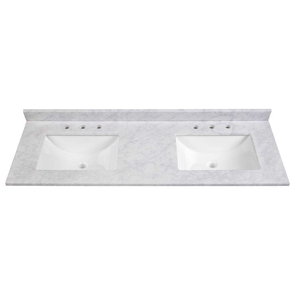 double sink vanity tops for bathrooms. W Stone Effects Vanity Top in Carrera with White Basin Double Sink  Tops Bathroom Vanities The Home Depot