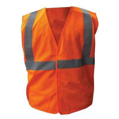 Size Large Orange ANSI Class 2 Solid Polyester Safety Vest with 2 in. Silver Striping