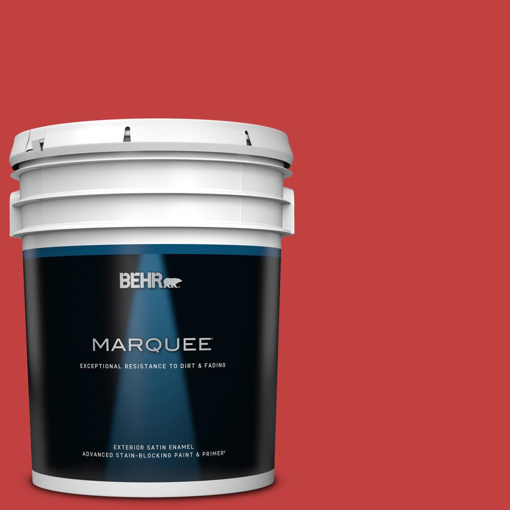 Behr Marquee 5 Gal 150b 7 Poinsettia Satin Enamel Exterior Paint And Primer In One 945305 The Home Depot