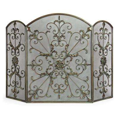 Lenor 34 in. Bronze Wrought Iron Fireplace Screen