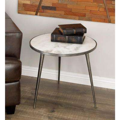 Superbe Aluminum Marble Accent Table In Gray