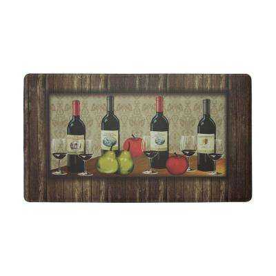 Sophisticated Wine 18 in. x 30 in. Extra Thick Premium Foam Comfort Kitchen Mat
