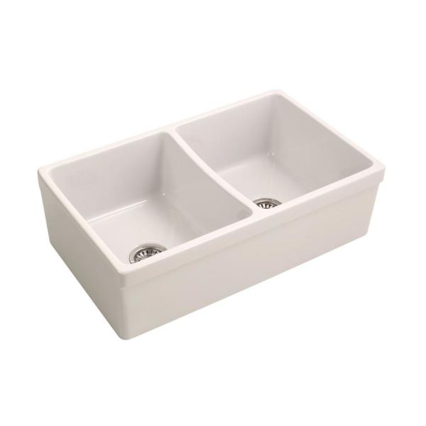 Lettie Farmhouse Apron Front Fireclay 33 in. 50/50 Double Bowl Kitchen Sink in Bisque
