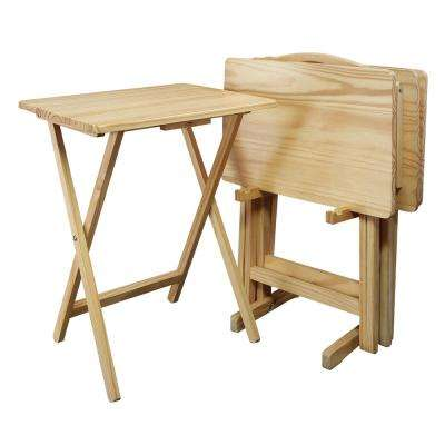 5-Piece Natural Foldable Tray Table