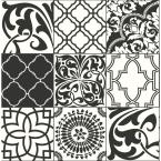 NextWall Black and White Graphic Tile Peel and Stick Wallpaper