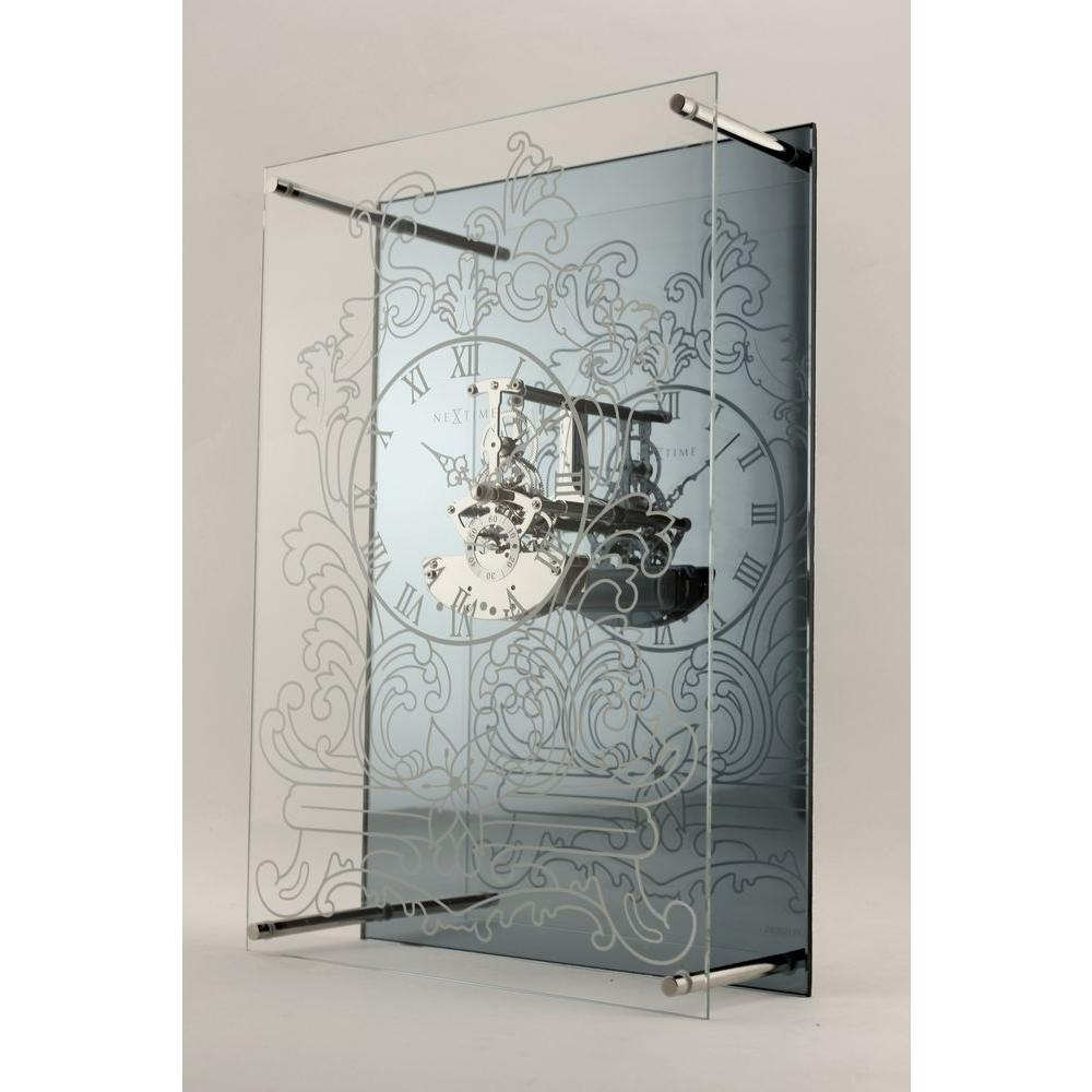 Nextime 14.37 in. x 9.84 in. Glass and Metal Wall Clock-DISCONTINUED