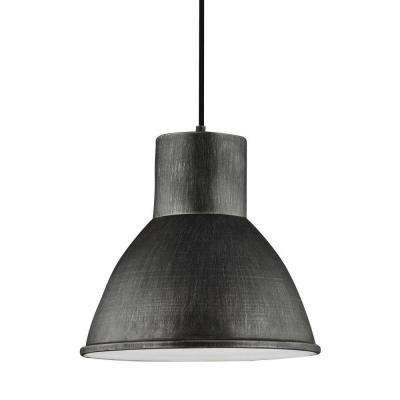 Division Street 15 in. W. 1-Light Weathered Gray Pendant