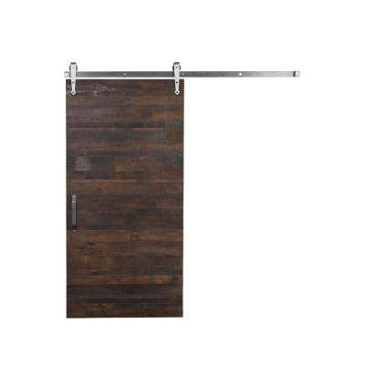 36 in. x 96 in. Rustica Reclaimed Brown Wood Barn Door with Arrow Sliding Hardware Kit and Falcon Pull