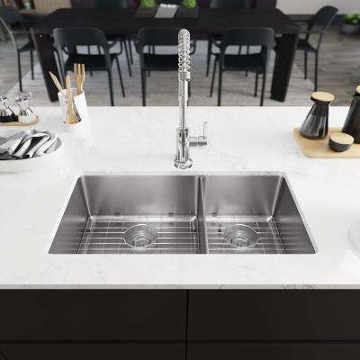 All-in-One Undermount Stainless Steel 31-1/8 in. 60/40 Double Bowl Kitchen Sink
