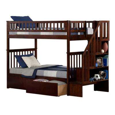 Woodland Walnut Twin Over Twin Staircase Bunk Bed with 2-Urban Bed Drawers