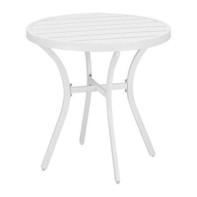 Mix and Match 28 in. White Round Metal Outdoor Patio Bistro Table