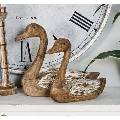 Sitting Ducks Wood Sculpture with White Highlights (Set of 2)