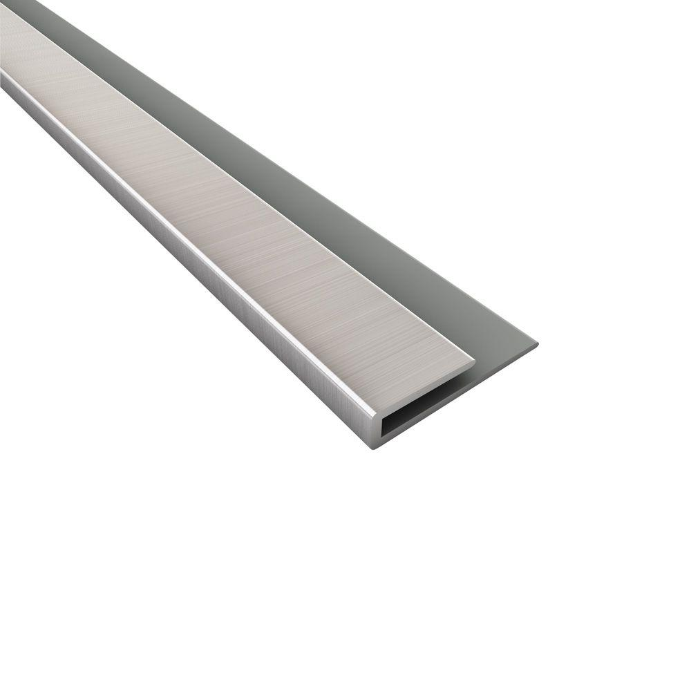 Fasade 18 in. Brushed Nickel PVC Large Profile J-trim