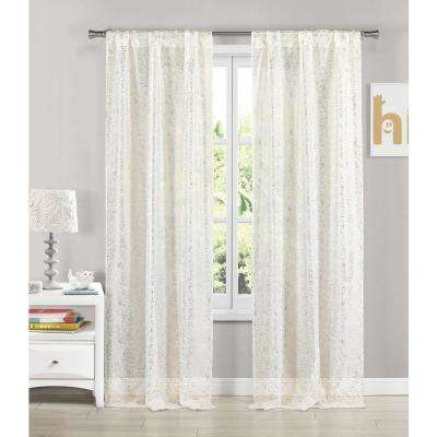 Molly 38 in. W x 84 in. L Polyester Window Panel in White-Gold (2-Pack)