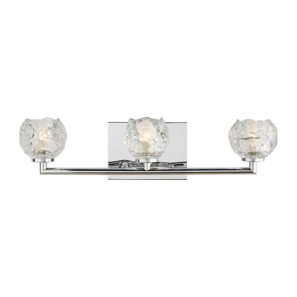 Feiss Arielle 3 Light Chrome Vanity Light With Clear Snowball Glass