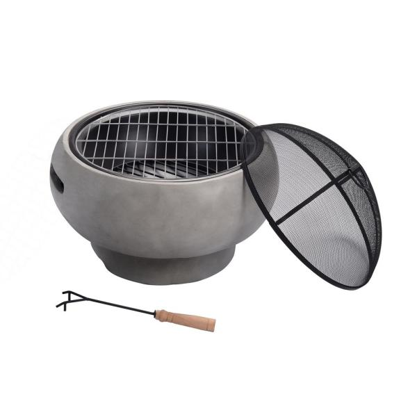 Peaktop Outdoor 21 in. x 11.8 in. Round Concrete Wood Burning Fire Pit