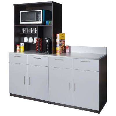 Charmant Coffee Kitchen Espresso And Silver Sideboard ...