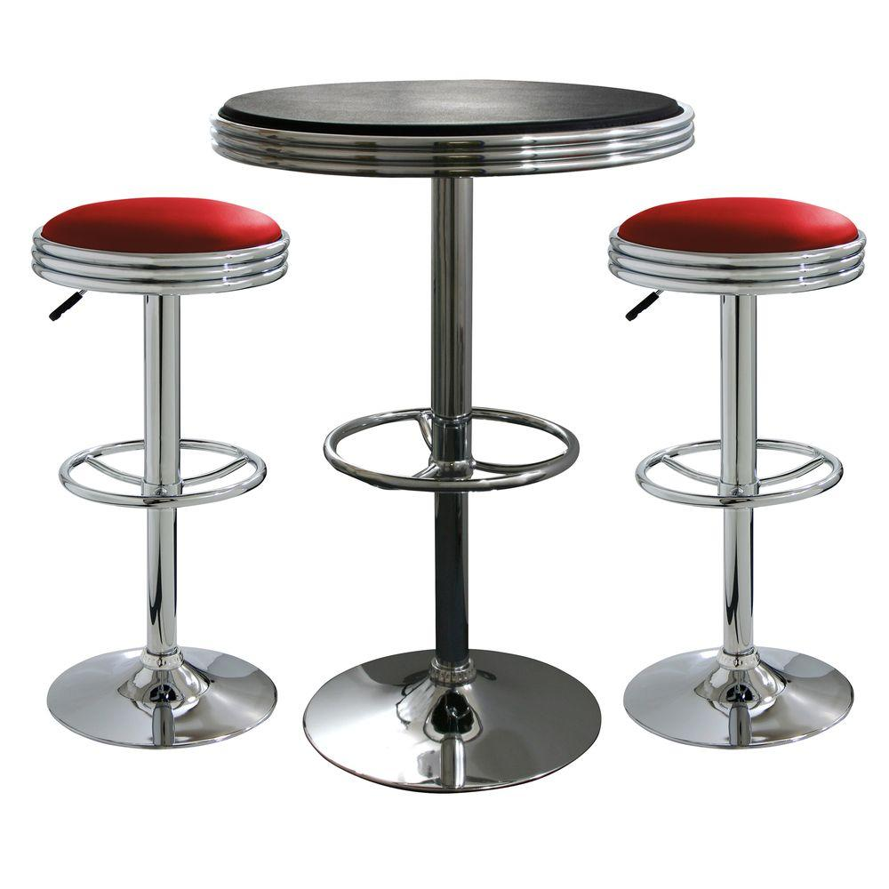 Amerihome Vintage Style Soda Shop Chrome Bar Table Set