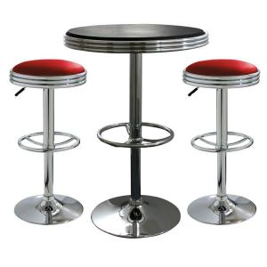 AmeriHome Vintage Style Soda Shop Chrome Bar Table Set with Red Vinyl Chairs and Black Table (3-Piece) by AmeriHome