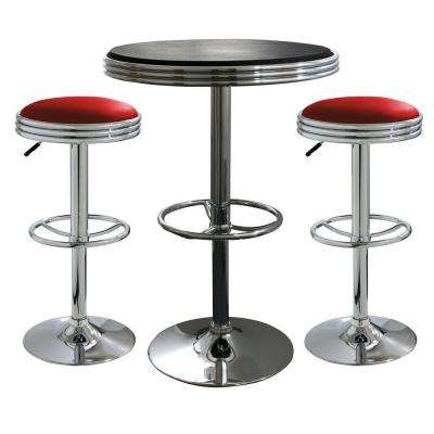 Vintage Style Soda Shop Chrome Bar Table Set with Red Vinyl Chairs and Black Table (3-Piece)