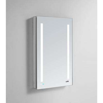 Signature Royale 24 in W x 40 in. H Recessed or Surface Mount Medicine Cabinet with Single Door,LED Lighting,Right Hinge