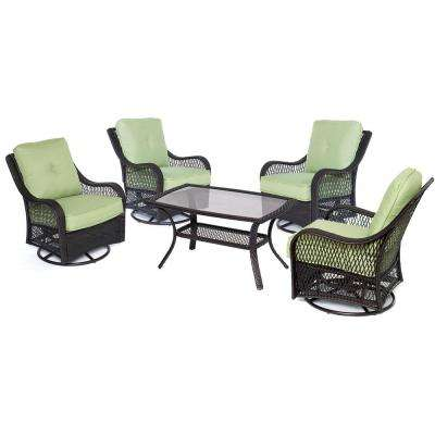 Orleans 5-Piece Wicker Patio Conversation Set with Avocado Green Cushions