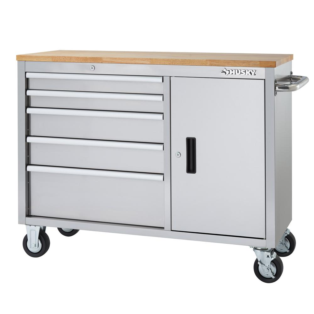 workbench ideas please garage - Husky 46 in 5 Drawer and 1 Door Stainless Steel Mobile