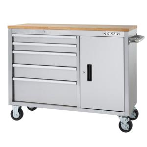 Husky 46 in. 5-Drawer and 1-Door Stainless Steel Mobile